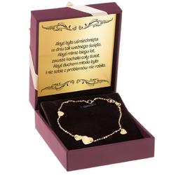 Złota bransoletka z serduszkami pr. 333 grawer