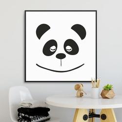 Panda face - plakat dla dzieci , wymiary - 60cm x 60cm, kolor ramki - czarny