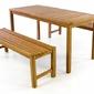 Komplet mebli ogrodowych, stół + 2 ławki z drewna tekowego divero