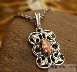 Ermita - srebrny wisiorek z topazem złocistym
