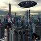 Obraz na płótnie canvas obcy statek ufo w futurystycznym krajobrazie