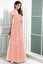Suknia z koronką i perełkami, jasno różowe 9066