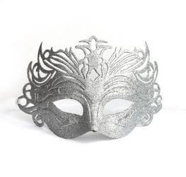 Maska karnawałowa srebrna brokatowa