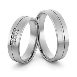 Obrączki ślubne z białego złota palladowego z brylantami - au-1000
