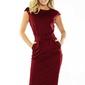 Bordowa sukienka elegancka midi z zaznaczoną talią