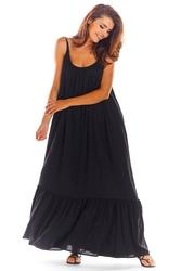 Czarna maxi sukienka na cienkich ramiączkach z falbanką