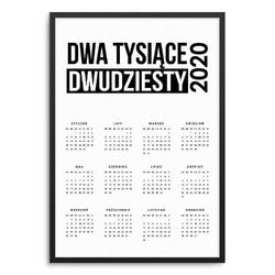 Dwa tysiące dwudziesty - kalendarz w ramie , wymiary - 70cm x 100cm, kolor ramki - biały