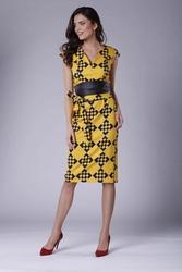 Elegancka ołówkowa sukienka midi z zaznaczoną talią