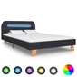 Vidaxl rama łóżka z led, ciemnoszara, tkanina, 120 x 200 cm