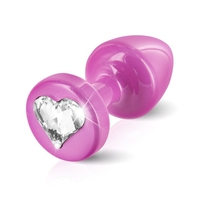 Zdobiony plug analny - diogol anni r butt plug heart pink 25 mm serce różowy