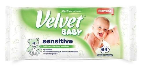 Velvet baby sensitive, chusteczki nawilżane dla dzieci i niemowląt, 64 sztuki