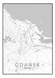 Gdańsk mapa czarno biała - plakat