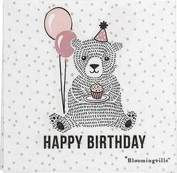 Serwetki Happy Birthday Bear 20 szt. różowe