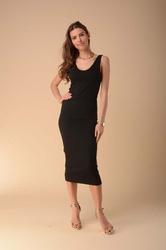 Czarna ołówkowa sukienka na ramiączkach