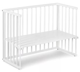 Białe łóżeczko dostawne na kółkach piccolo due 90x45