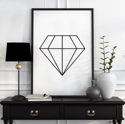 Diamond - plakat designerski , wymiary - 18cm x 24cm, ramka - biała , wersja - na czarnym tle