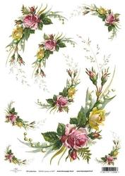 Papier ryżowy ITD A4 R427 róże konwalie