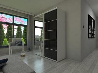 Szafa przesuwna o100 x 245 - czarne szkło