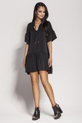 Czarna dziewczęca sukienka letnia z falbankami