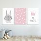 Zestaw plakatów dziecięcych - princess rabbit , wymiary - 40cm x 50cm 3 sztuki, kolor ramki - biały