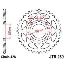 Zębatka tylna stalowa jt 269-42, 42z, rozmiar 428 2300873 honda xl 185, daelim vl 125