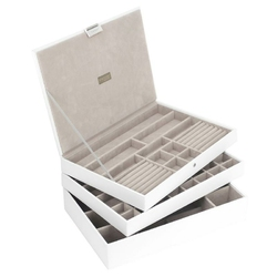 Pudełko na biżuterię potrójne supersize Stackers biało-beżowe