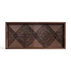 Ethnicraft :: taca dekoracyjna walnut linear squares prostokątna brązowa rozm. m