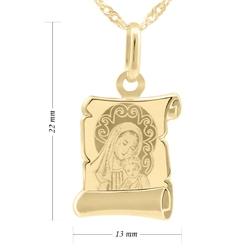 Złoty medalik matka boska i jezusem pr. 585 grawer - niebieska chłopiec