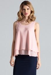 Różowa zwiewna delikatna bluzka bez rękawów