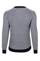Granatowo-szary męski sweter zapinany na guziki z wełny merino xxs