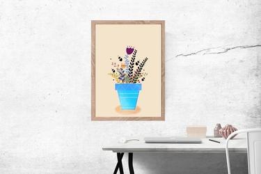 Kwiaty w doniczce - plakat wymiar do wyboru: 50x70 cm