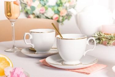 Zestaw filiżanek do kawy ze spodkiem porcelana mariapaula złota linia, komplet 2 szt. opakowanie prezentowe