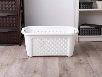 Kosz łazienkowy prostokątny plastikowy na pranie tontarelli arianna 35 l biały