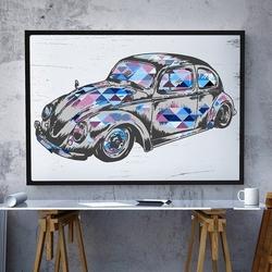 Garbus - plakat designerski , wymiary - 40cm x 50cm, ramka - biała