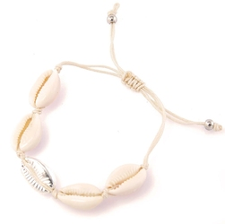 Bransoletka biała muszelki muszle srebrna sznurek - srebrna