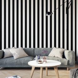 Tapeta na ścianę w czarno-białe pasy , rodzaj - tapeta flizelinowa laminowana