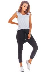 Dresowe spodnie z obniżonym krokiem - czarne