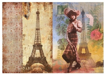 Papier ryżowy Calambour 33x48 cm kobieta Wieża Eiffla