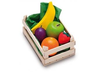 Drewniane owoce w skrzynce