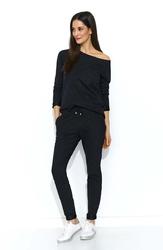 Czarny stylowy dresowy komplet damski