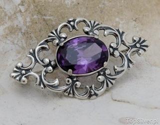 Violet - srebrna broszka z ametystem
