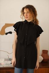 Długa koszula z falbankami - czarna
