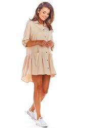 Luźna koszulowa beżowa sukienka z falbanką