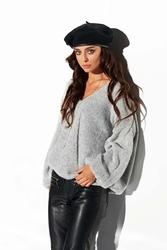 Luźny jasnoszary sweter z dekoltem w szpic