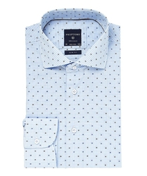 Elegancka błękitna koszula profuomo slim fit w drobną kratkę i kolorowy wzorek 42