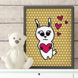 Miłosny króliczek - plakat dla dzieci , wymiary - 20cm x 30cm, kolor ramki - czarny