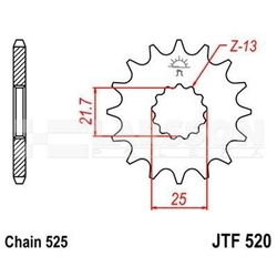 Zębatka przednia jt f520-17, 17z, rozmiar 525 2200177 suzuki gsx-r 600, yamaha tdm 850