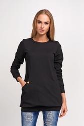 Czarna wygodna dłuższa bluza z kieszeniami