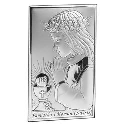Obrazek Srebrny Dziewczynka Pamiątka na I Komunię Św. Grawer - Obrazki na Chrzest    Obrazki na I Komunię Św.