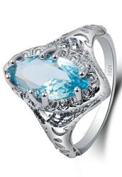 Srebrny pierścionek damski z turkusowym oczkiem, 925
